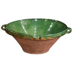 19th Century French Green Glazed Terracotta Decorative Bowl from Provence