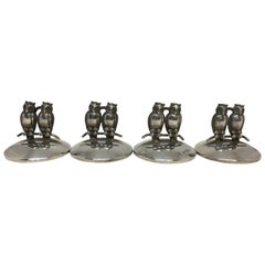 Art Deco Set of 4 Place Card / Menu Holders with Twin Owls on Branches