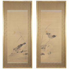Pair of Japanese Framed Scrolls with Lotus, White Heron and Duck Decoration