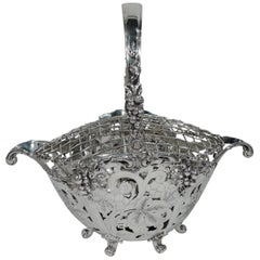 Heavy Antique Tiffany Sterling Silver Basket with Flower Frog