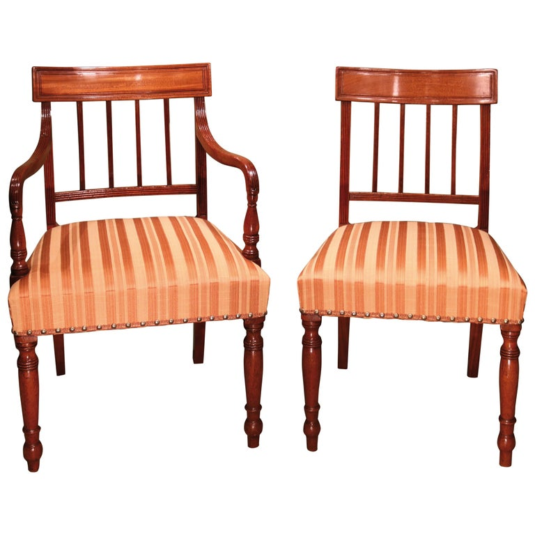 Set of 10 Single and Two-Arm Regency Mahogany Dining Chairs For Sale