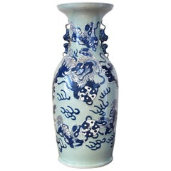 Large Chinese Qing Porcelain Blue & White Vase w/ Foo Dogs Playing w taichi ball