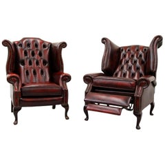 Chesterfield Armchair Leather Antique Wing Chair Recliner Armchair