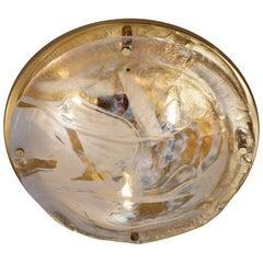 Murano Art Glass and Brass Flush Light by Hillebrand, 1970s, German