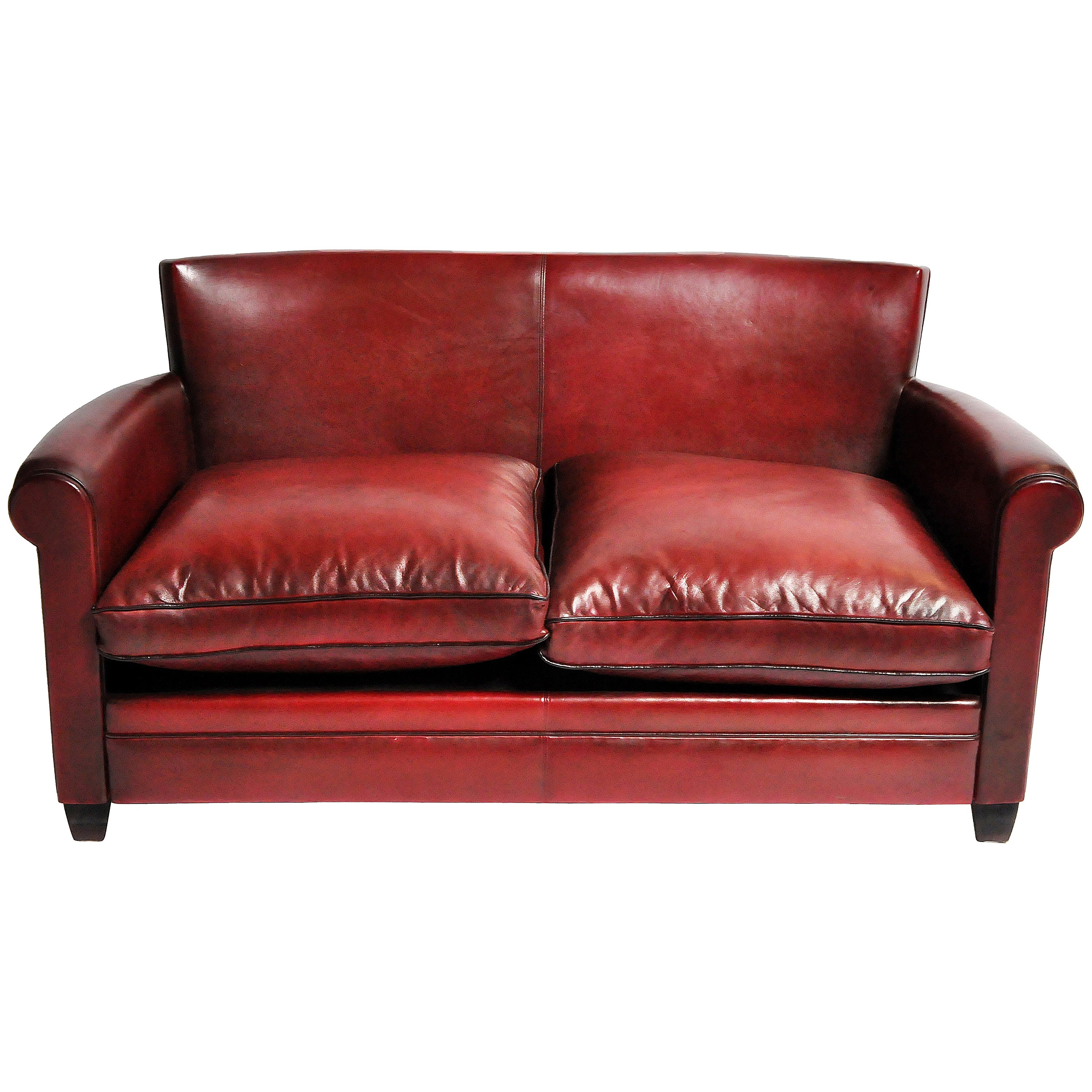 Grand Parisian Style Red Leather Sofa For Sale at 1stdibs