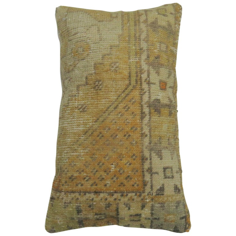 Vintage Turkish Soft Yellow Pillow For Sale