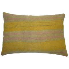 Big Yellow and Lavender Vintage Kilim Pillow