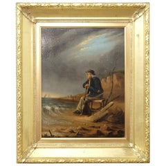 "Mid-19th Century English ""Old Sailor"" Oil on Board, Gilt Frame, Signed, Coastal"