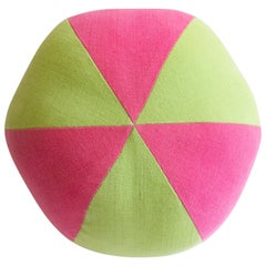 Pink and Green Beach Ball Round Pillow