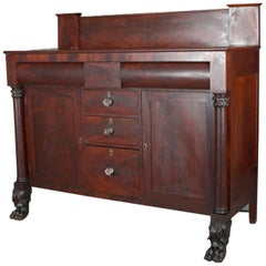 Antique Classical American Empire Carved Flame Mahogany Sideboard, circa 1830