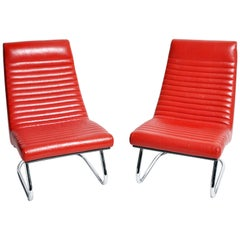 "Pair of 1970s ""Tulip Red"" Lounge Chairs"