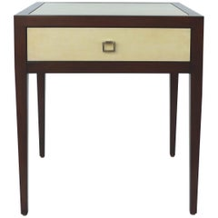 Williams and Sonoma Home Mahogany and Parchment Side Table