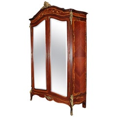 Antique French Louis XIV Style Inlaid Mahogany and Ormolu Mirrored Armoire