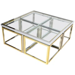 Brass, Chrome, and Glass Coffee Table Ensemble