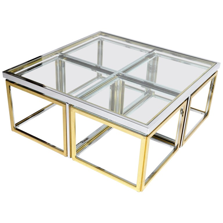 Brass, Chrome, and Glass Coffee Table Ensemble For Sale