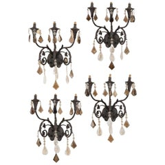 Set of Four Rock Crystal and Smokey Rock Crystal Sconces