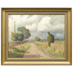 20th Century Oil on Board of an English Country Lane, Framed, Impressionist