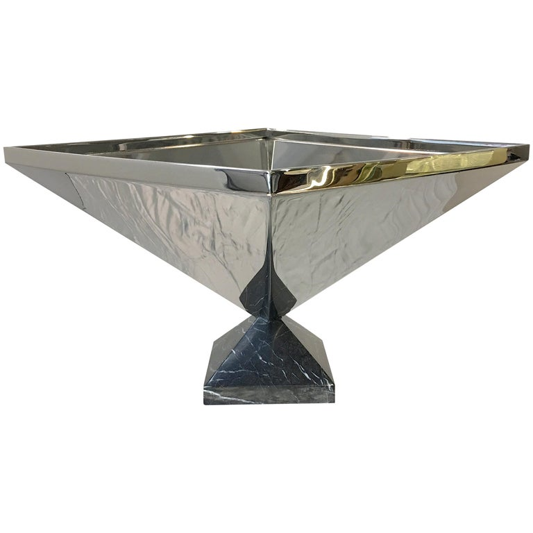 Inverted Pyramid Polished Stainless Centerpiece on Marble Pyramid Base For Sale
