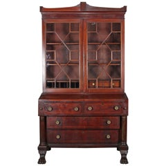 Antique American Empire Flame Mahogany Bookcase Drop Front Secretary, circa 1840