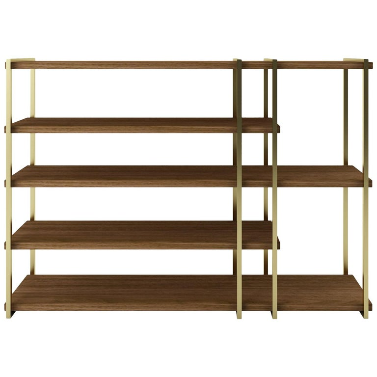 Modern Console in Brass Finishing and Walnut Wood For Sale