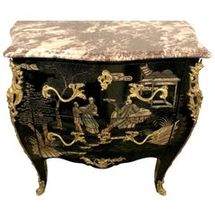 Antique Louis XV Style Ebonized & Bronze-Mounted Chinoiserie Marble-Top Commode
