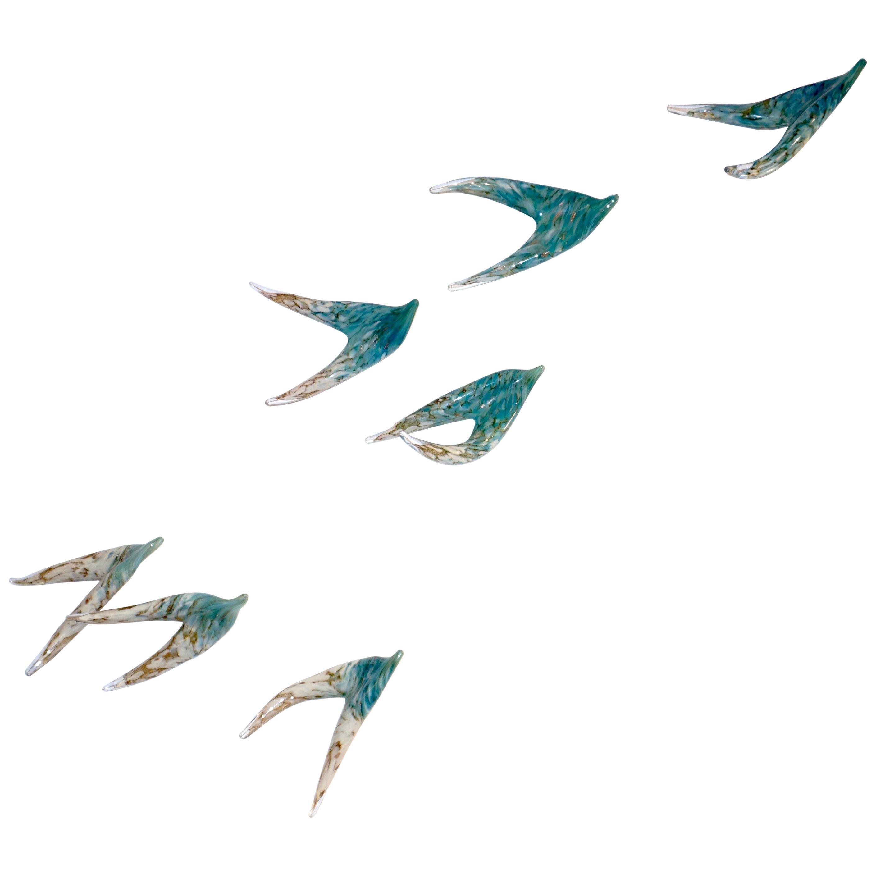 Flight of Aquamarine Birds Contemporary Blown Glass Modern Art Wall Sculpture