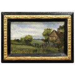 Country Scene 19th Century Small Oil Painting on Board in Period Ebonized Frame