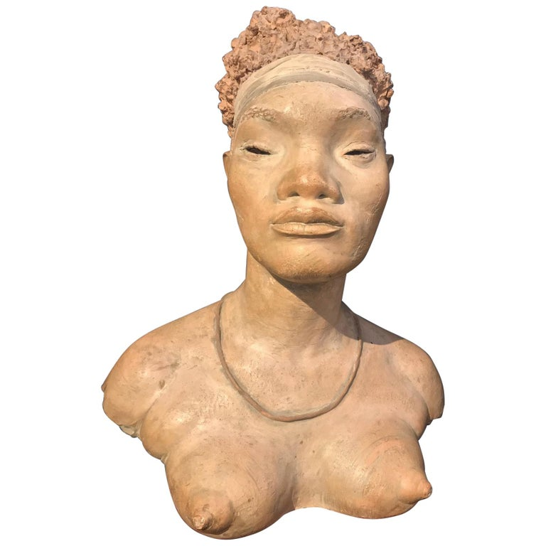 Terracotta Sculpture of an African Woman by Renzo Moscatelli For Sale