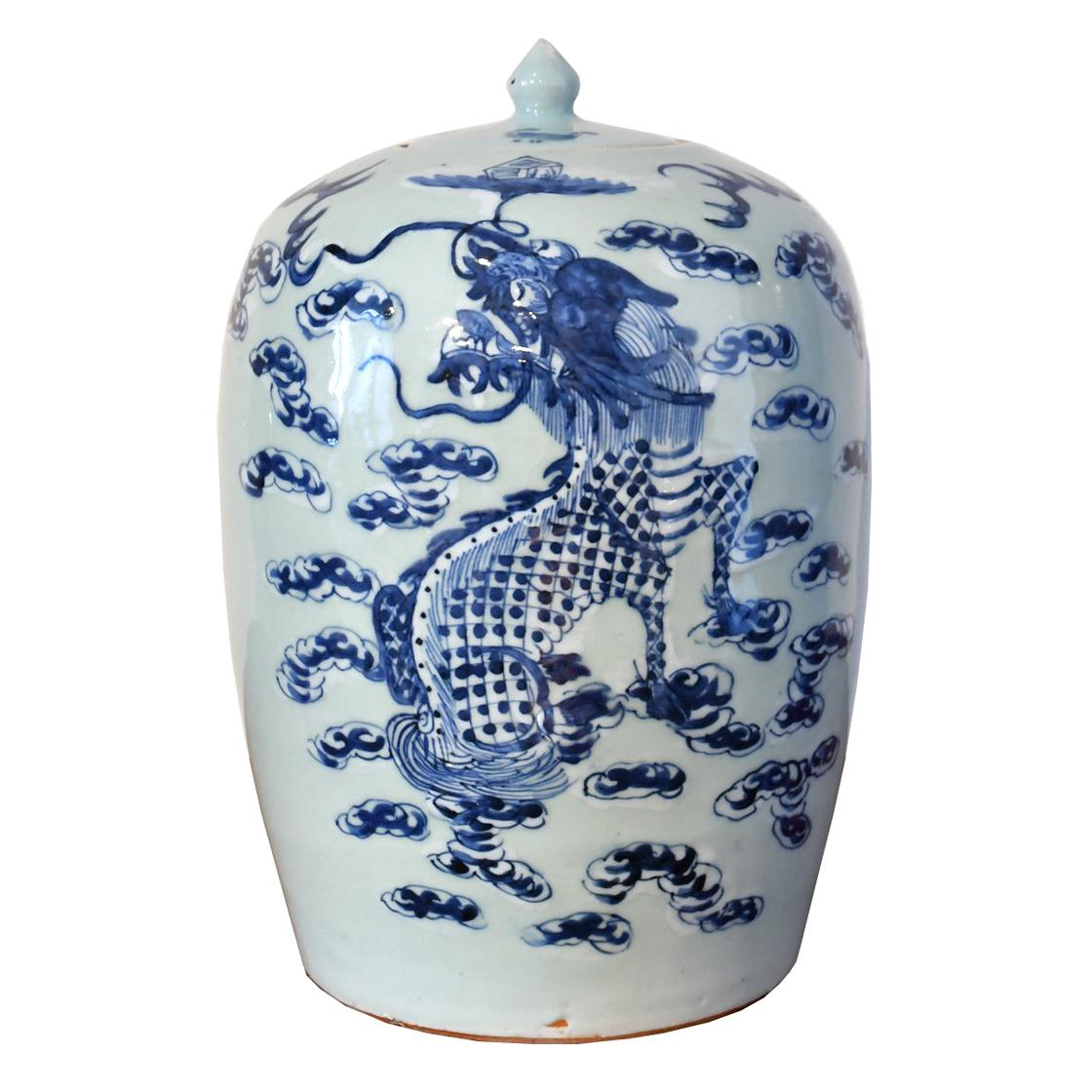 Qing Chinese Blue &White Porcelain Lidded Jar w/ Hand Painted Five-Clawed Dragon