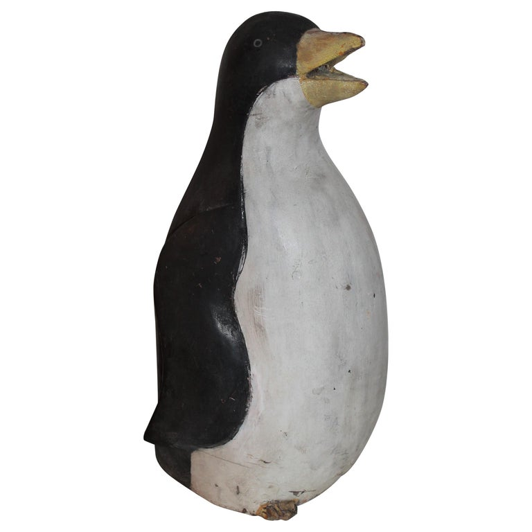 Early 20th Century Hand Carved and Painted Penguin For Sale