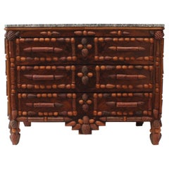 Italian Walnut and Pinecone Decorated Chest of Drawers with Marble Top