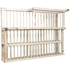 Large Pine Country House Open Dish-Rack, Distressed White Paint, 19th Century