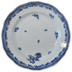18th Century Qianlong Chinese Porcelain Blue & White Plate with Flowers