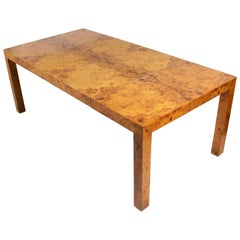Clean Lined Burl Wood Dining Table by Milo Baughman