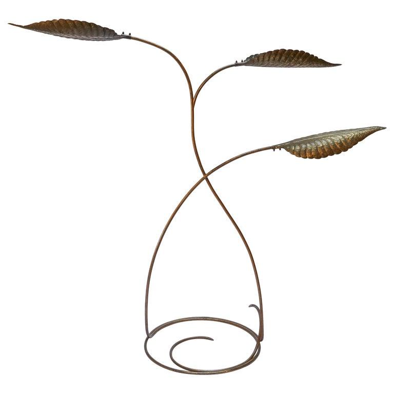 Tommaso Barbi 1970s Italian Brass Leaf Floor Lamp For Sale