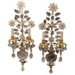 Wonderful Pair Vintage Bagues Rock Crystal Gold Gilt Urn Flower Leaf Sconces