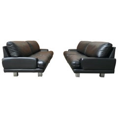 Milo Baughman for Thayer Coggin Black Leather Sofas a Pair