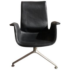 Walter Knoll Black Leather FK Lowback Bucket Chair with 3-Star Base