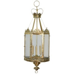 English Hexagonal Neoclassical Brass Hanging Lantern, Early 19th Century