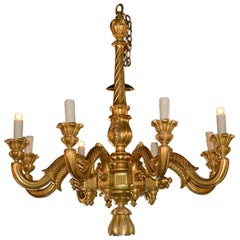 Large 19th Century Italian Giltwood Chandelier