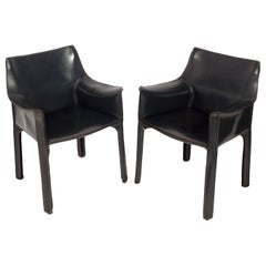 Pair of Charcoal Gray Leather Cab Chairs by Mario Bellini for Cassina