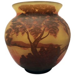 French Cameo-Cut Spherical Art Glass Vase by Arsall
