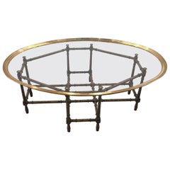 Baker Faux Bamboo/Tortoise Cocktail or Coffee Table with Brass and Glass Top