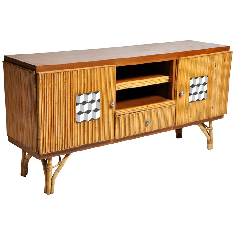 Bamboo and rattan sideboard, ca. 1960, offered by The Golden Triangle