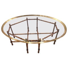 Baker Faux Bamboo Cocktail or Coffee Table with Brass and Glass Top