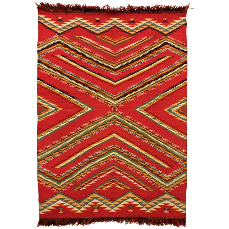 Antique Navajo Germantown Hand-Woven Wool Blanket, circa 1890, Red Field For Sale