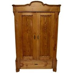 Pitch Pine Bonnet Top Two-Door Armoire