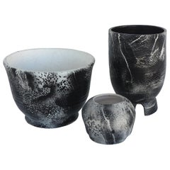 Three Hand Turned Ceramic Black & White Vessels by Ceramicist Gary Fonseca