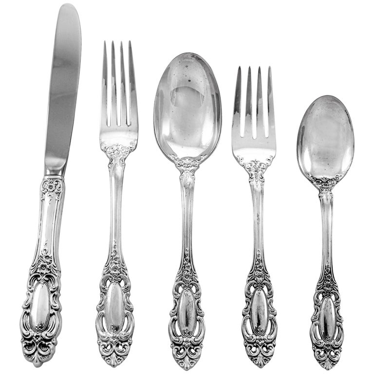 Grand Duchess Sterling Flatware; Service for 12 /60 Pieces For Sale