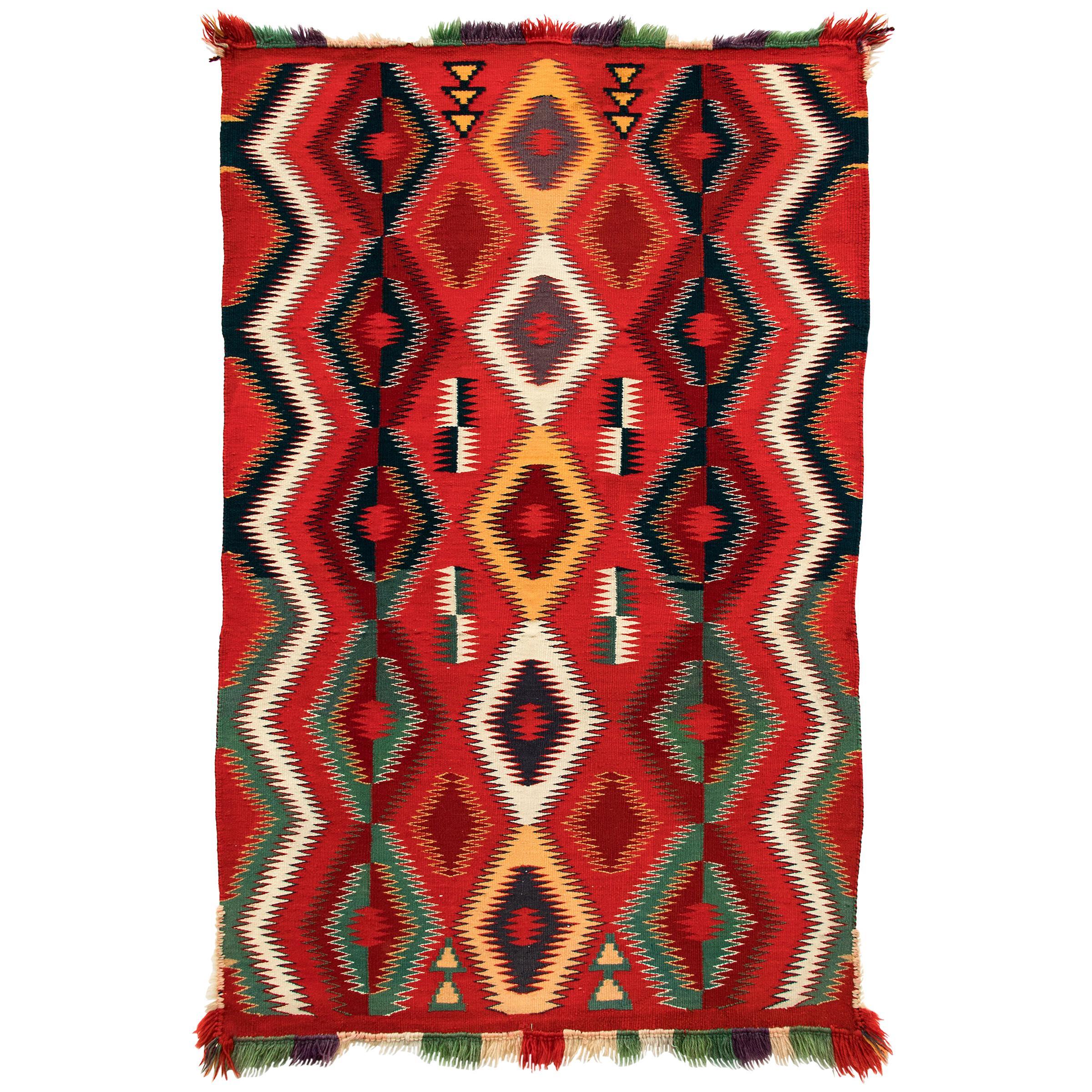 Vintage Navajo Germantown Blanket, circa 1890, Red Field Eye-Dazzler Pattern